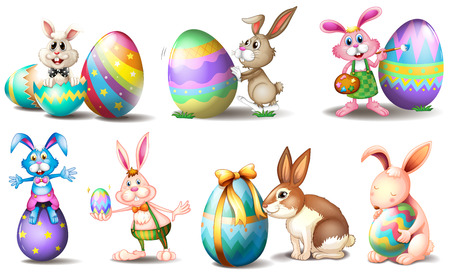 Illustration of the Easter eggs with playful bunnies on a white background
