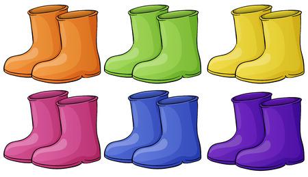 Illustratie van een groep van kleurrijke laarzen op een witte achtergrond