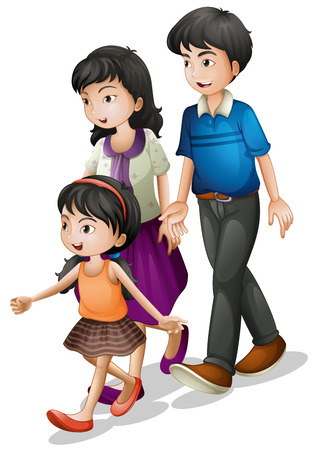 stroll: Illustration of a family walking on a white background Illustration