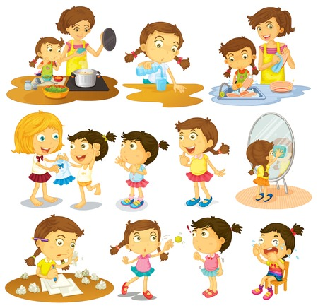 Ilustración de las diferentes acciones de una joven en un fondo blanco