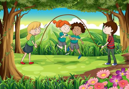playmates: Ilustración de los niños jugando con la cuerda en la selva Vectores