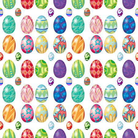 creative egg painting: Illustration of the seamless design with Easter eggs on a white background Illustration