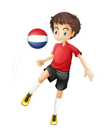 예행 연습: 흰색 배경에 네덜란드의 국기와 함께 공을 사용하는 남자의 그림 일러스트
