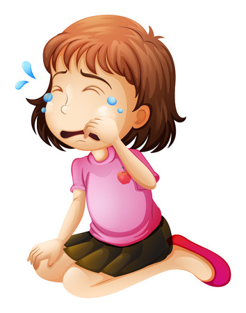 moody: Illustration of a little girl crying on a white background