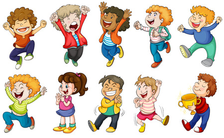 cartoon human: Illustration of the happy kids on a white background Illustration