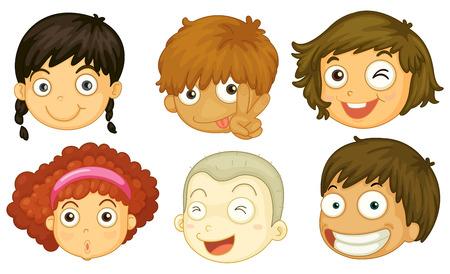 Ilustración de los seis jefes de diferentes niños en un fondo blanco