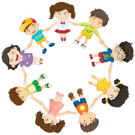 girotondo bambini: Illustrazione dei ragazzi che formano un cerchio su sfondo bianco