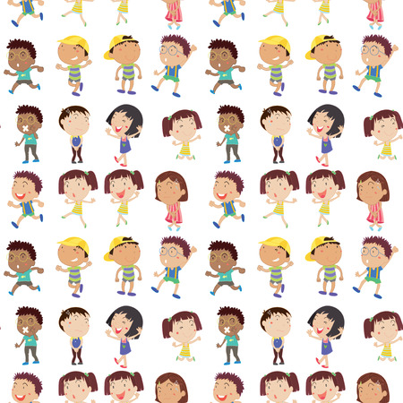 Illustration of the different emotion of kids on a white background Vector