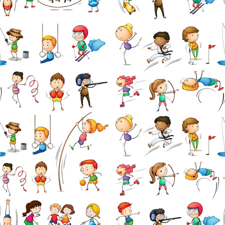 Illustration of the seamless design of people doing their indoor and outdoor activities on a white background Vector