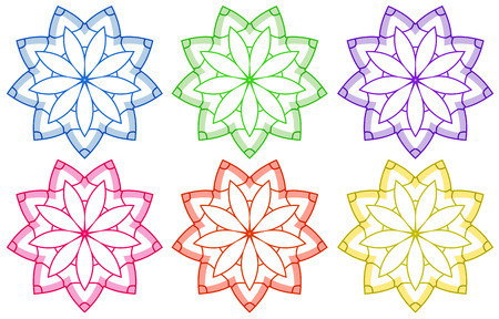 Illustration of the floral patterns on a white background