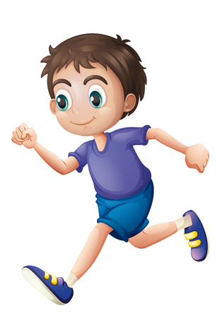 Illustration of a young gentleman running on a white background Vector