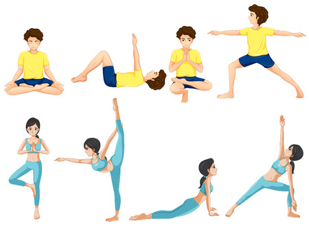 Illustration of the different yoga poses on a white background Vector