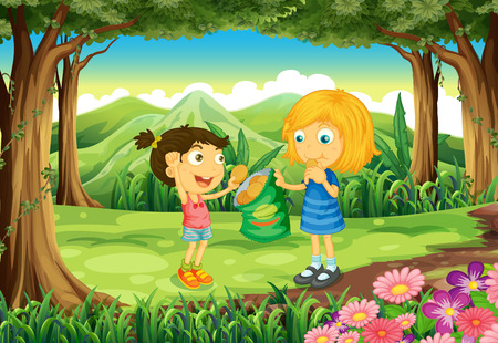 Illustration of the kids eating junkfoods in the middle of the forest Vetores