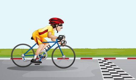 bicycle lane: Illustration of a man joining a race Illustration
