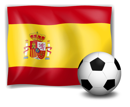 Illustration of the flag of Spain and the soccer ball on a white background Vector