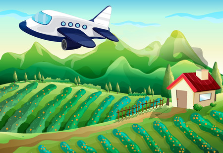 Illustration of an airplane above the farm Vector