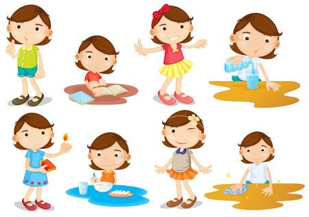 chores: Illustratie van de dagelijkse activiteiten van een jong meisje op een witte achtergrond