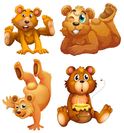 Illustration of the four playful brown bears on a white background Vector