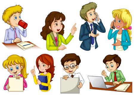 Illustration of the different people working in an office on a white background Vector