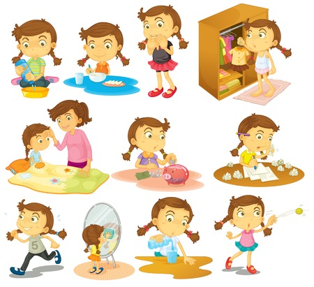 ahorrar agua: Ilustraci�n de las diferentes actividades de una chica joven en un fondo blanco