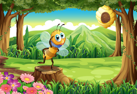 Illustration of a stump at the woods with a bee Vector