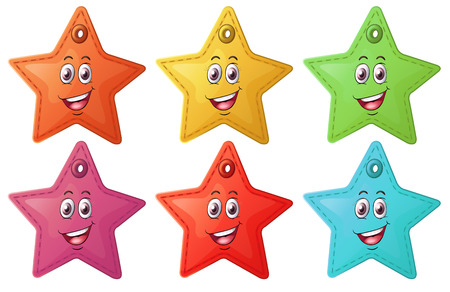 Illustration of the smiling stars on a white background Vector