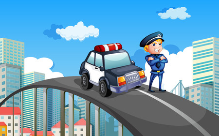 Illustration of a patrol car and a policeman in the middle of the highway Vector