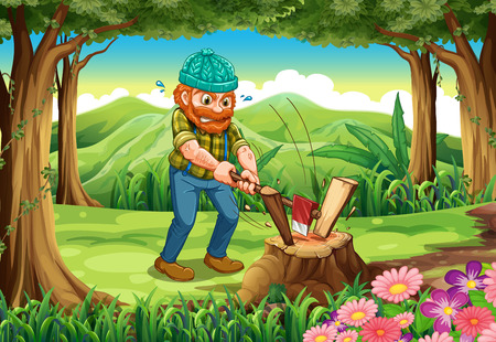 hardworking: Illustration of a hardworking lumberjack chopping woods at the forest