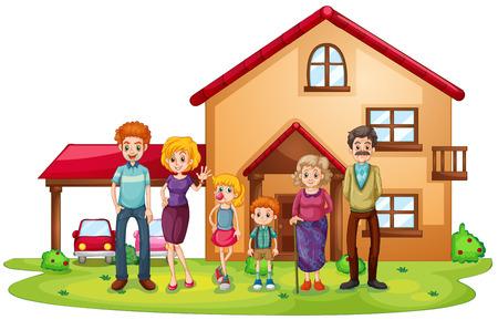 Ilustração de uma grande família na frente de uma casa grande em um fundo branco Ilustración de vector
