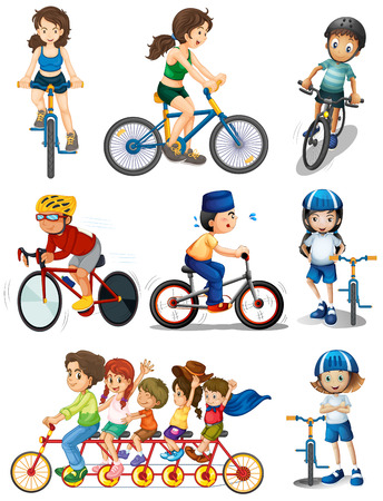 family isolated on white: Illustration of the people biking on a white background