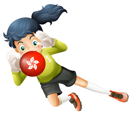 Illustration of a girl using the ball with the Hongkong flag on a white background