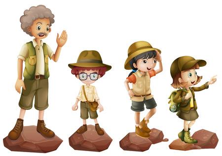 amigo: Ilustraci�n de una familia de exploradores en un fondo blanco