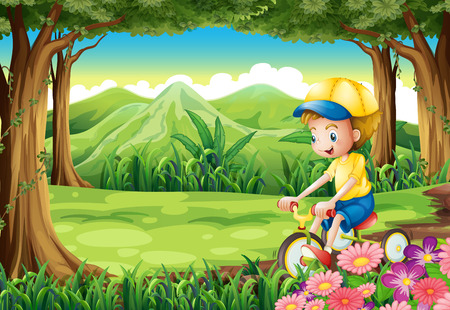 Illustration of a boy biking in the middle of the forest Vector