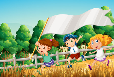 grass cartoon: Illustration of the kids at the woods with an empty banner