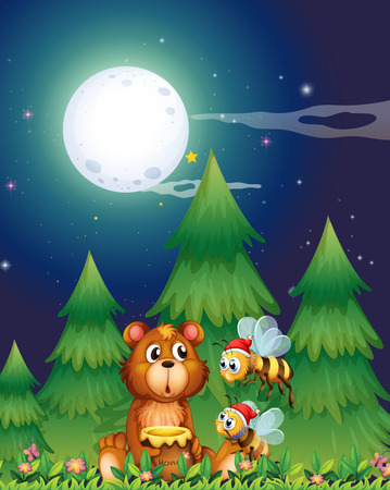 moon cartoon: Illustration of a bear near the pine trees with Santa bees Illustration