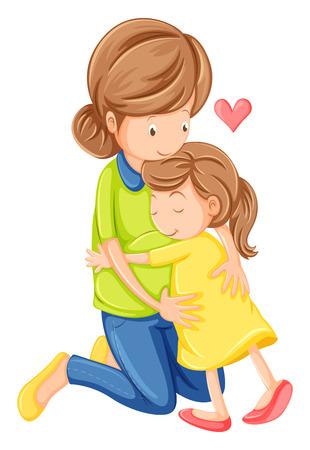 흰색 배경에 어머니와 딸의 사랑의 그림