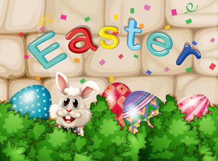 Illustration of a bunny hiding with Easter eggs Vector