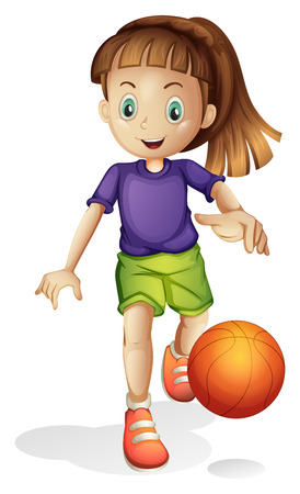 Ilustración de una chica joven que juega a baloncesto en un fondo blanco Foto de archivo - 27135913