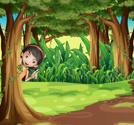 illustration: Illustration of a young girl hiding at the forest Illustration
