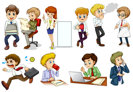 Illustration of the business minded people engaging in different activities on a white background Vector
