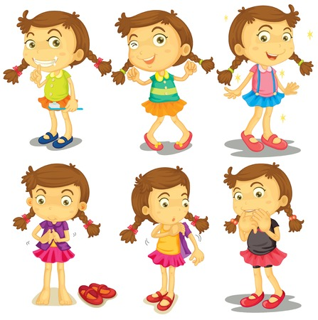 changing clothes: Ilustraci�n de una chica joven en un fondo blanco Vectores