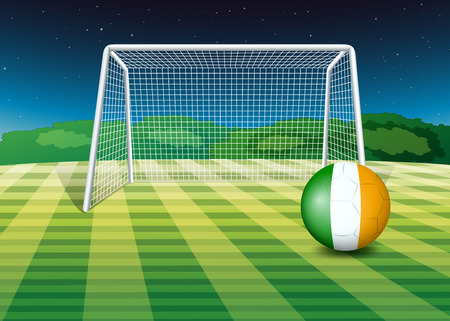 footwork: Illustration of a ball at the field with the flag of Ireland