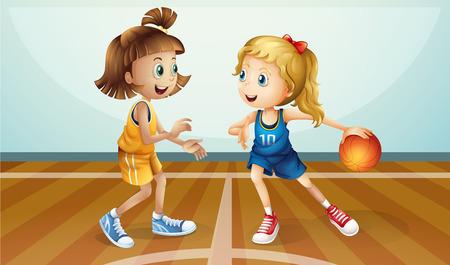 baloncesto chica: Ilustración de las dos jóvenes jugando al baloncesto