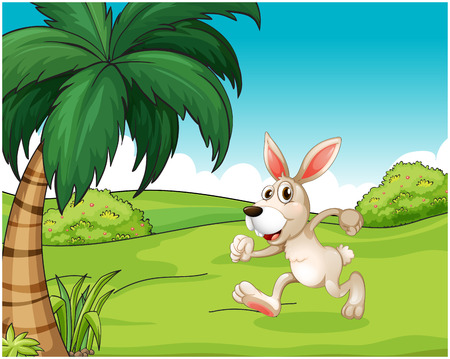 hilltop: Illustration of a bunny running at the hilltop on a white background Illustration