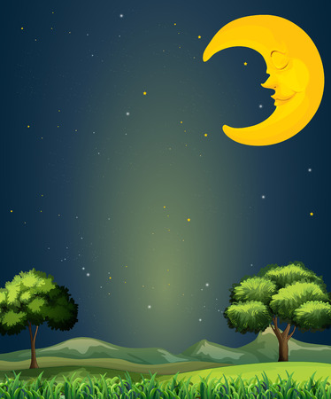 Illustration of a bright sky with a sleeping moon Illustration