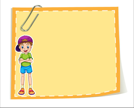 Illustration of an empty paper template with a smiling young boy on a white background Vector
