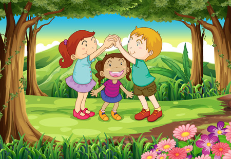 playmates: Ilustración de un grupo de niños jugando en la selva