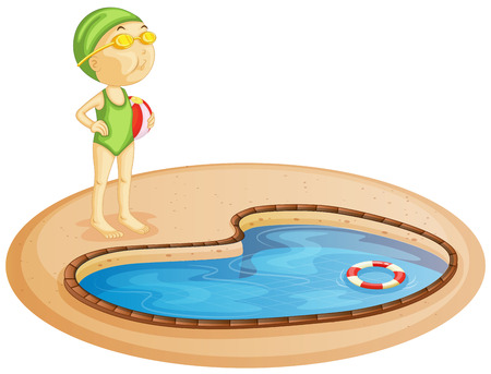 lifebuoy: Illustration of a young girl in the pool on a white background