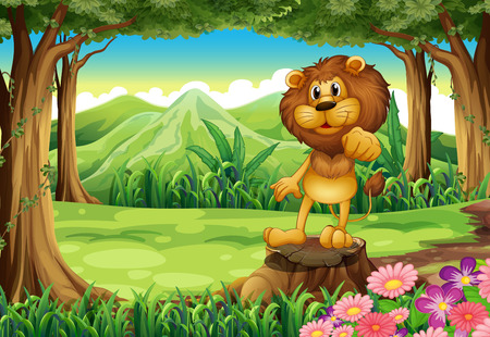 Illustration of a king lion above the stump at the forest Illustration