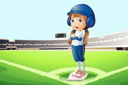 baseball field: Illustration of a baseball player at the court